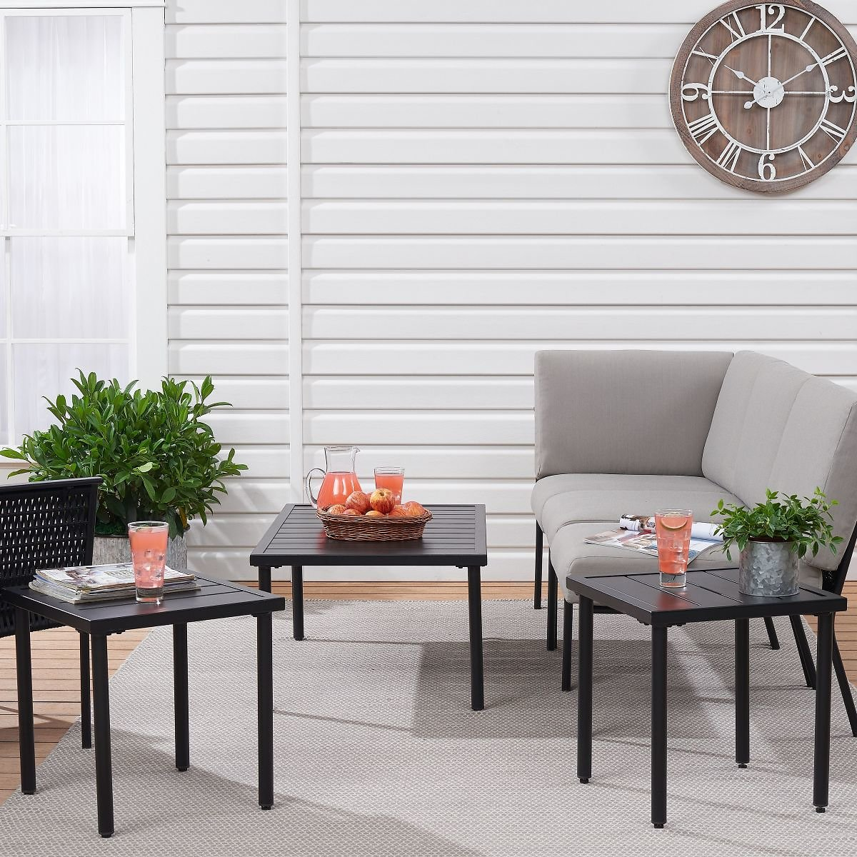 Mainstays Dagna 3-Piece Patio Coffee Table and Side Table Set