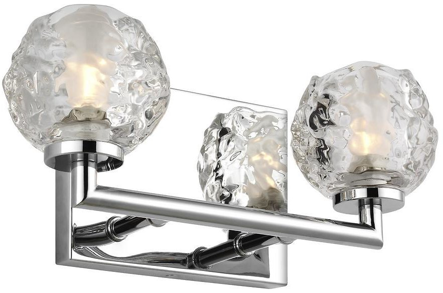 TODAY ONLY! Feiss Arielle 2-Light Chrome Vanity Light with Clear Snowball Glass Shades VS24332CH-L1