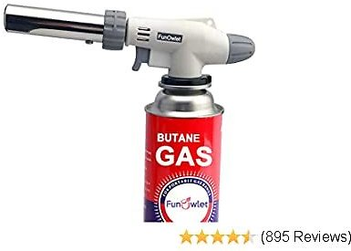 Butane Torch Kitchen Blow Lighter - Culinary Torches Chef Cooking Professional Adjustable Flame with Reverse Use for Creme, Brulee, BBQ, Baking, Jewelry By FunOwlet (Butane Fuel Not Included)