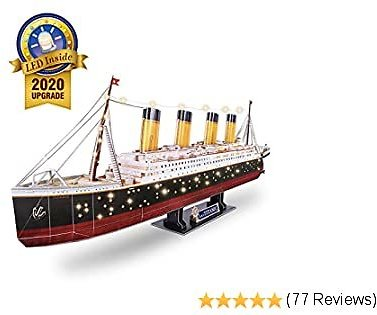 CubicFun 3D Puzzles for Adults RMS Titanic Ship Toys Model Kits 34.6'', Difficult Watercraft Jigsaw Family Puzzles