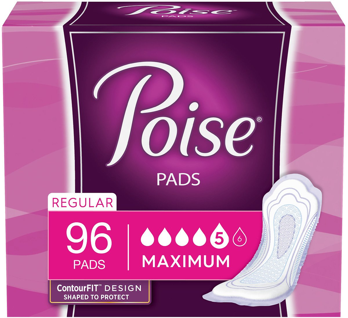 Free Shippinh/Poise Incontinence Pads, Maximum Absorbency, Regular, 96 Count