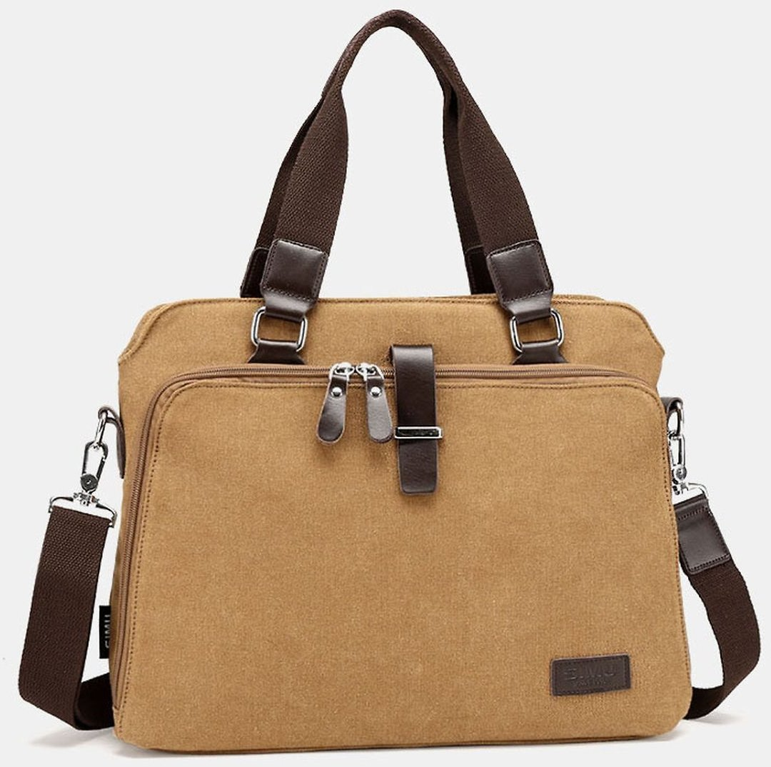 Men's Canvas Solid Large Capacity Computer Business Crossbody Bag