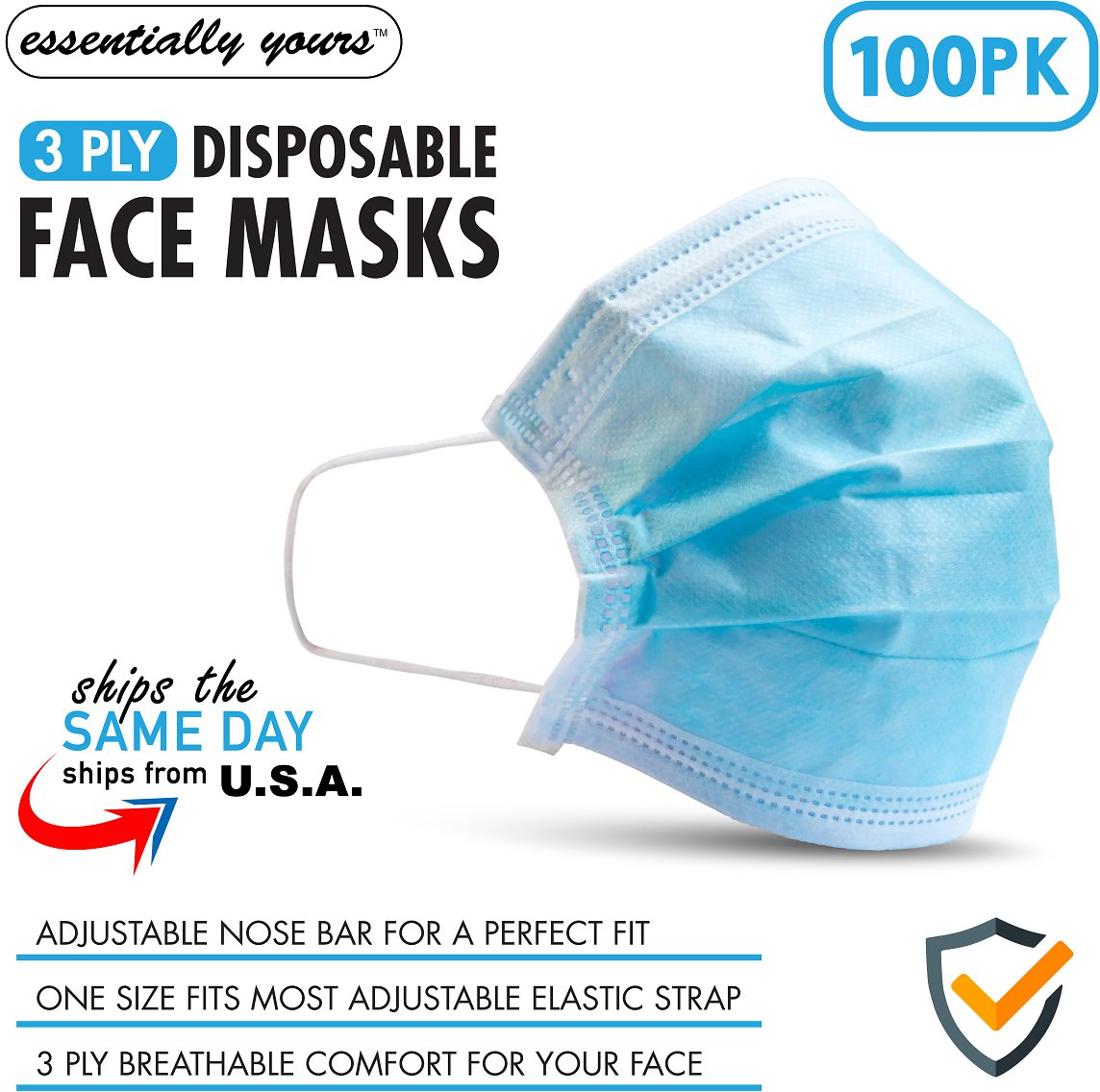 Essentially Yours Breathable 3 Ply Ear Loop Disposable Face Masks, 100-Pack