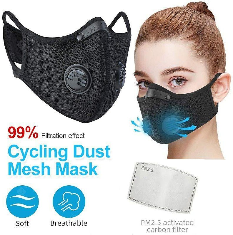 Cycling Respirator Mask With Breathing Valve KN95 Filter Non-medical Activated Carbon Filter Mask Sale, Price & Reviews | Gearbest