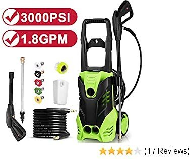 Electric Pressure Washer, 3000 PSI 1.80 GPM 14.5-Amp Portable Power Washer Machine with Power Hose, 5 Interchangeable Nozzles,Detergent Tank for Cleaning Cars, Houses Driveways, Patios