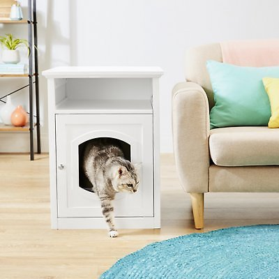 Frisco Decorative Side Table Cat Litter Box Cover, White