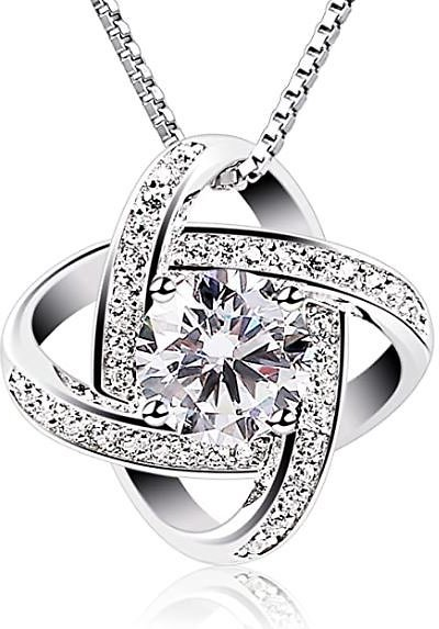 B.Catcher Silver Necklace Womens 925 Silver Cubic Zirconia Pendant Gemini Necklace: Clothing