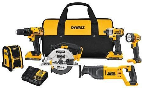 DEWALT 6-Tool 20-Volt Max Power Tool Combo Kit with Soft Case (Charger Included and 2-Batteries Included)