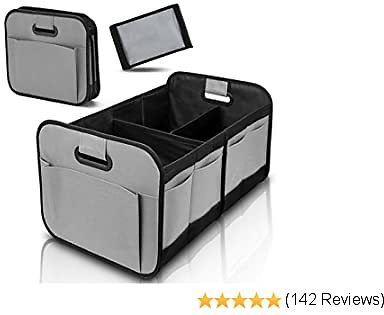 Car Trunk Organizer for SUV Truck Van Storage Organizer with Foldable Compartments and Reinforced Handles (Grey)…