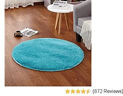 LOCHAS Luxury Round Fluffy Area Rugs for Kids Bedroom Super Soft Living Room Home Shaggy Carpet 4-Feet, Blue