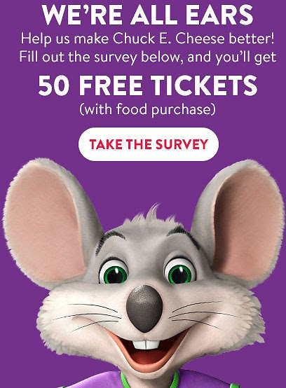 Chuck E. Cheese Reopening Survey + Free 50 Tickets