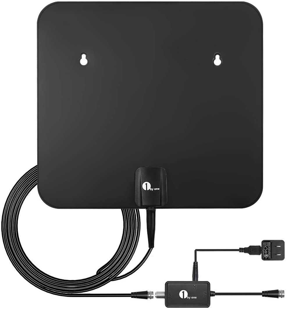 TV Antenna, 1byone Amplified HD Digital Indoor/Outdoor Waterproof TV Antenna Long Range 100 Miles with Signal Booster Support UH