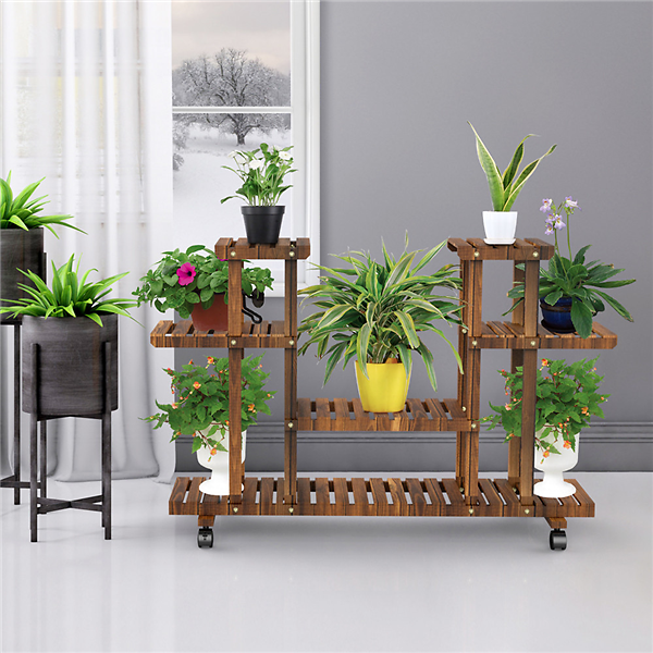 4-Layer Wooden Flower Stand Rolling + F/S