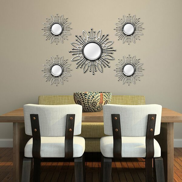 5 Piece Manahan Champagne Burst Wall Mirror Set