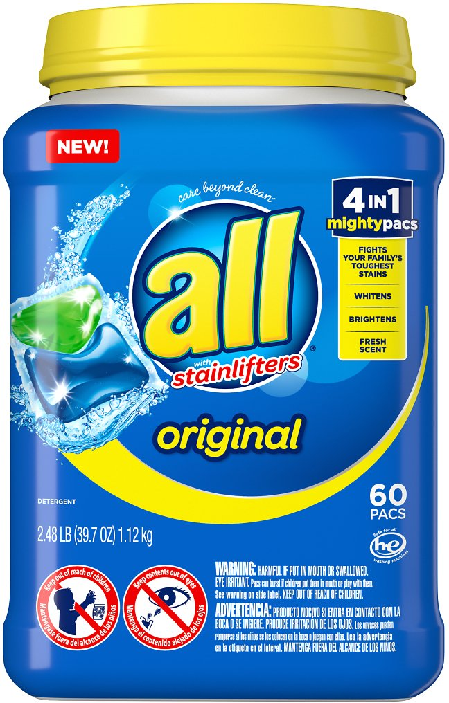 All Mighty Pacs Laundry Detergent, 4 in 1 Stainlifter, Tub, 60 Count