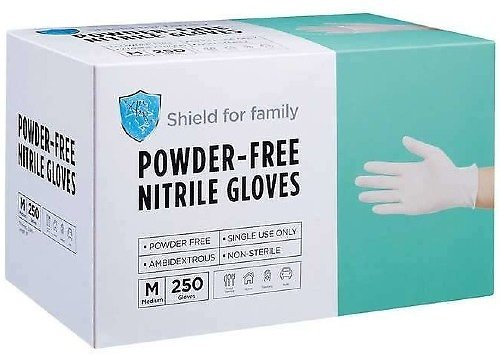 250-Ct Shield for Family Powder-Free Nitrile Gloves