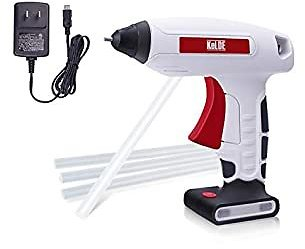 KeLDE Cordless Fine Tip Hot Glue Gun Kit, 30 Seconds Heating Time 3.7V Li-ion 2000mAh Battery Rechargeable Glue Gun, with Cable and Plug…