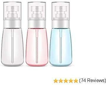 Plastic Spray Bottle,3 Pack 60ml/2oz Spray Bottles, Fine Mist Spray Bottle for Travel and Home, Refillable Empty Mister Spray Bottles for Cleaning Products, Perfume, Essential Oils(Clear/Blue/Pink)