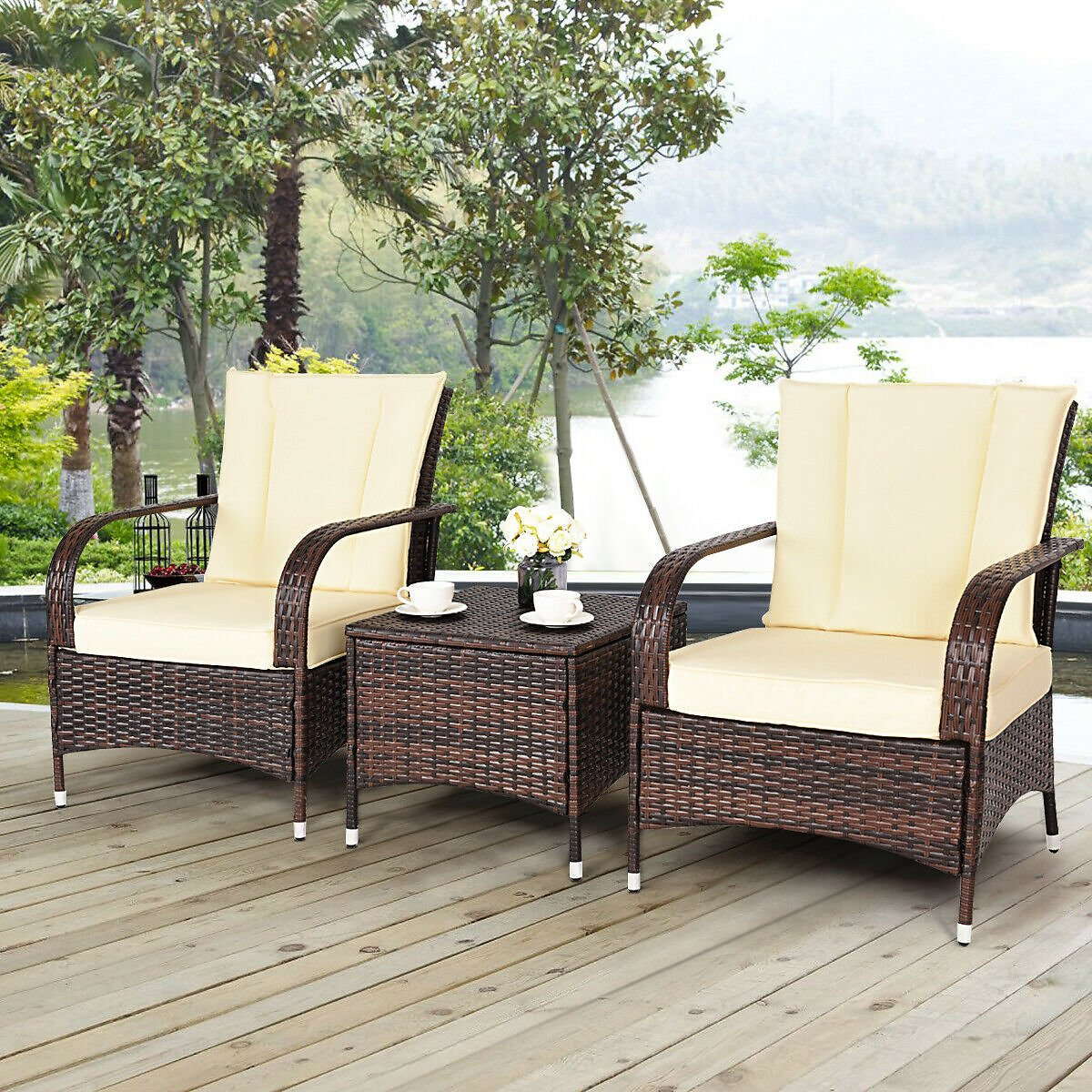 Costway 3PCS Outdoor Patio Mix Brown Rattan Wicker Furniture Set with Beige & Red Cushions