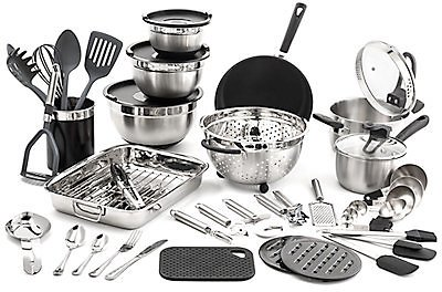 60% OFF *Save 207$ * Old Dutch 58pc Kitchen in a Box Stainless Steel Cookware Set