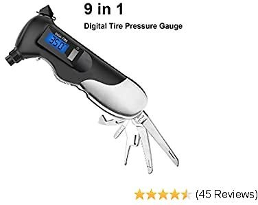 Digital Tire Pressure Gauge,150PSI with Multi-Functional Rescue Tools of LED Flashlight, Safety Glass Hammer
