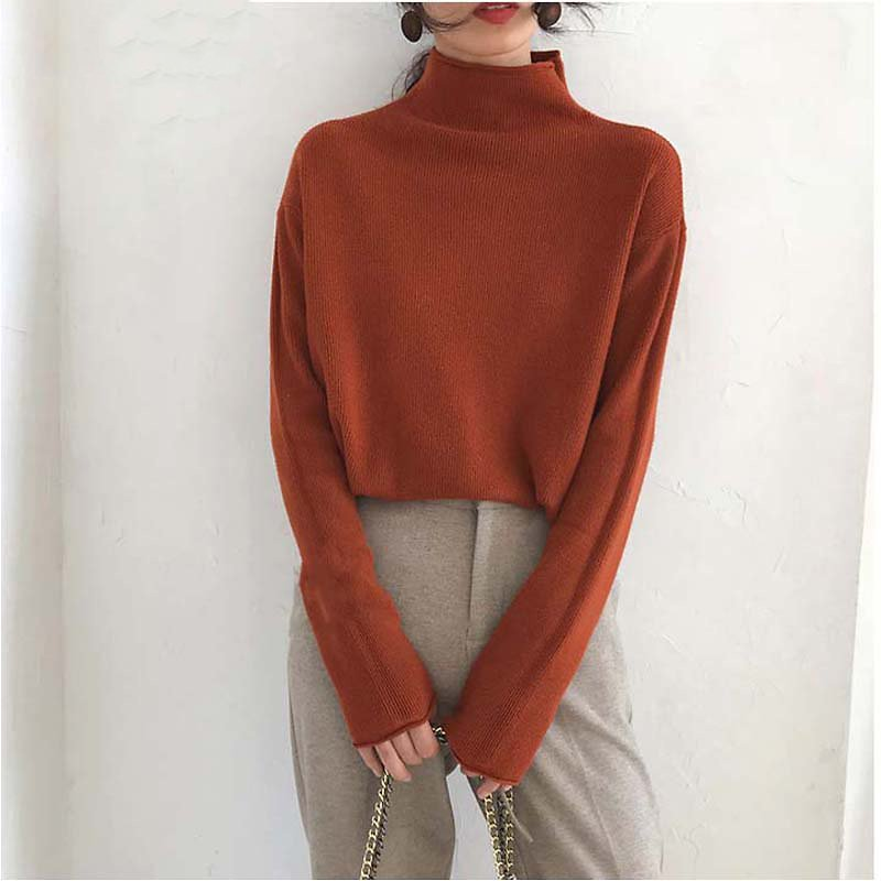 High Neck Chic Korean Loose Lazy Autumn Winter Sweater Soft Basic Casual Sweater Pullovers Women Female Winter Basic Jumper