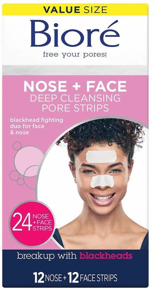 Bioré Nose Face, Deep Cleansing Pore Strips, 24 Ct Value Size, 12 Nose + 12 Face Strips for Chin or Forehead