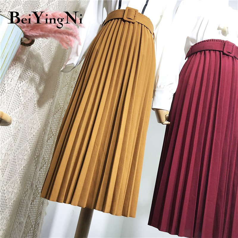 High Waist Women Skirt Casual Vintage Solid Belted Pleated Midi Skirts Lady 11 Colors Fashion Simple Saia Mujer Faldas