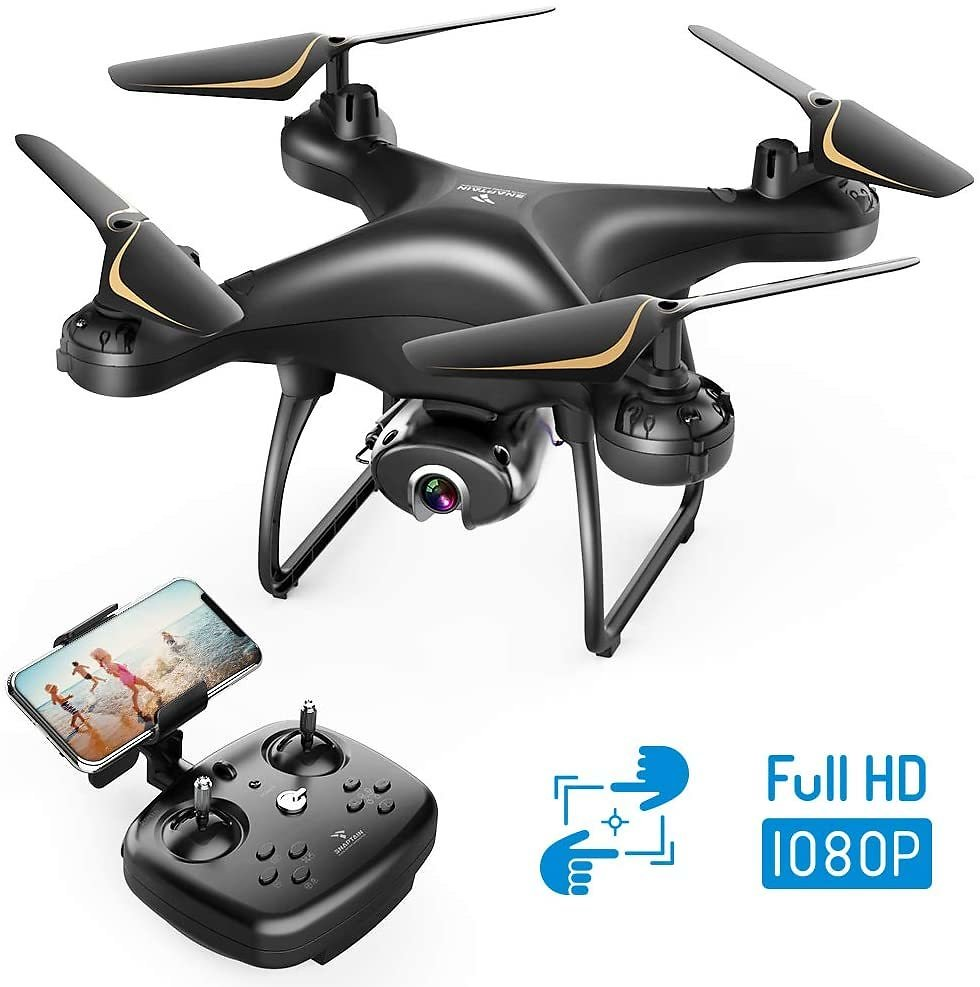 SNAPTAIN SP650 1080P Drone with Camera for Adults, 1080P HD Live Video Camera Drone W/Voice Control, Gesture Control, Circle Fly
