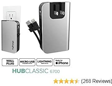 MyCharge Portable Charger Power Bank - HubPlus 6700 MAh External Battery Pack   Wall Charger Foldable Plug   Built in Cables (Apple IPhone Charger Lightning Cable and Android Samsung Micro USB Cable