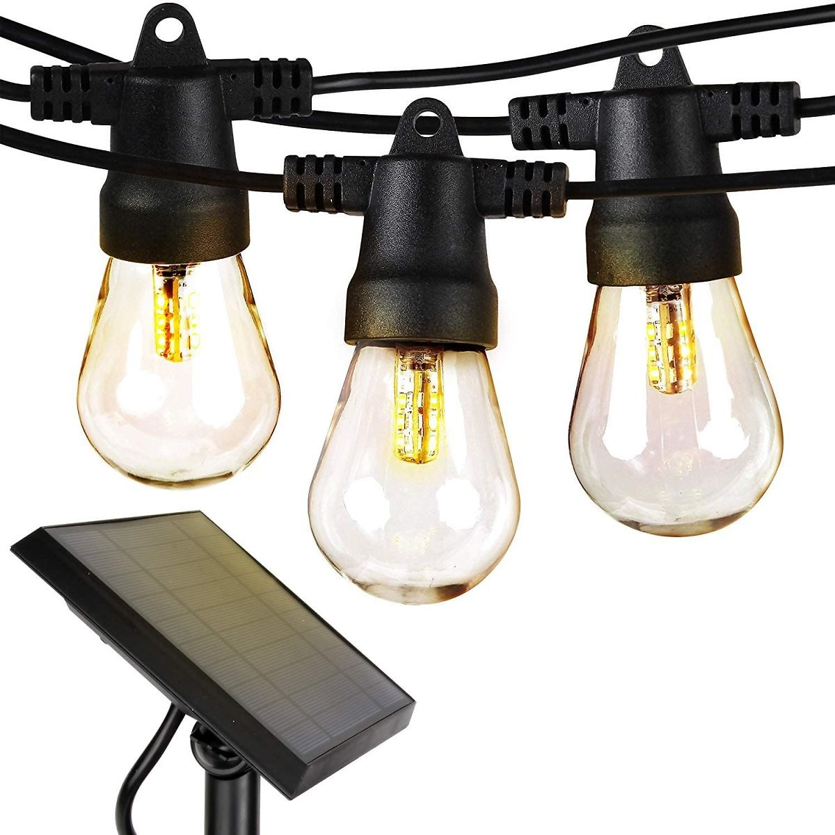 Brightech Ambience Pro - Waterproof, Solar Powered Outdoor String Lights - 27 Ft Vintage Edison Bulbs - 1W LEDs