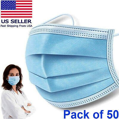 84% OFF USA Seller 50 PCS Face Mask Medical Surgical Dental Disposable 3-Ply Mouth Cover