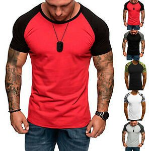 Summer Men's GYM Sports Camouflage Short Sleeve Slim Fit Muscle T-Shirt Casual