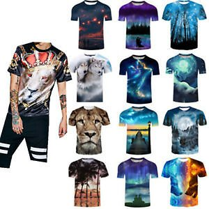 Fashion Animal 3D Print Cool Guy Men Casual T-Shirt Short Sleeve Graphic Tee NEW