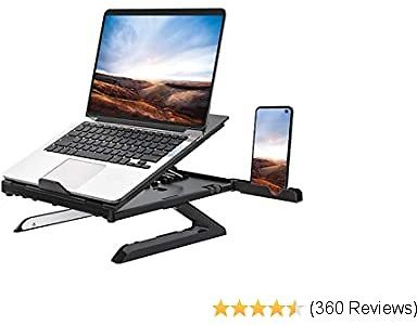 Homder Laptop Stand,Multi-Angle Adjustable Laptop Stand with Heat-Vent, Ergonomic Portable Foldable Laptop Riser for Desk Compatible with MacBook, Air, Pro,Surface Laptop Up to 15.6 Inches