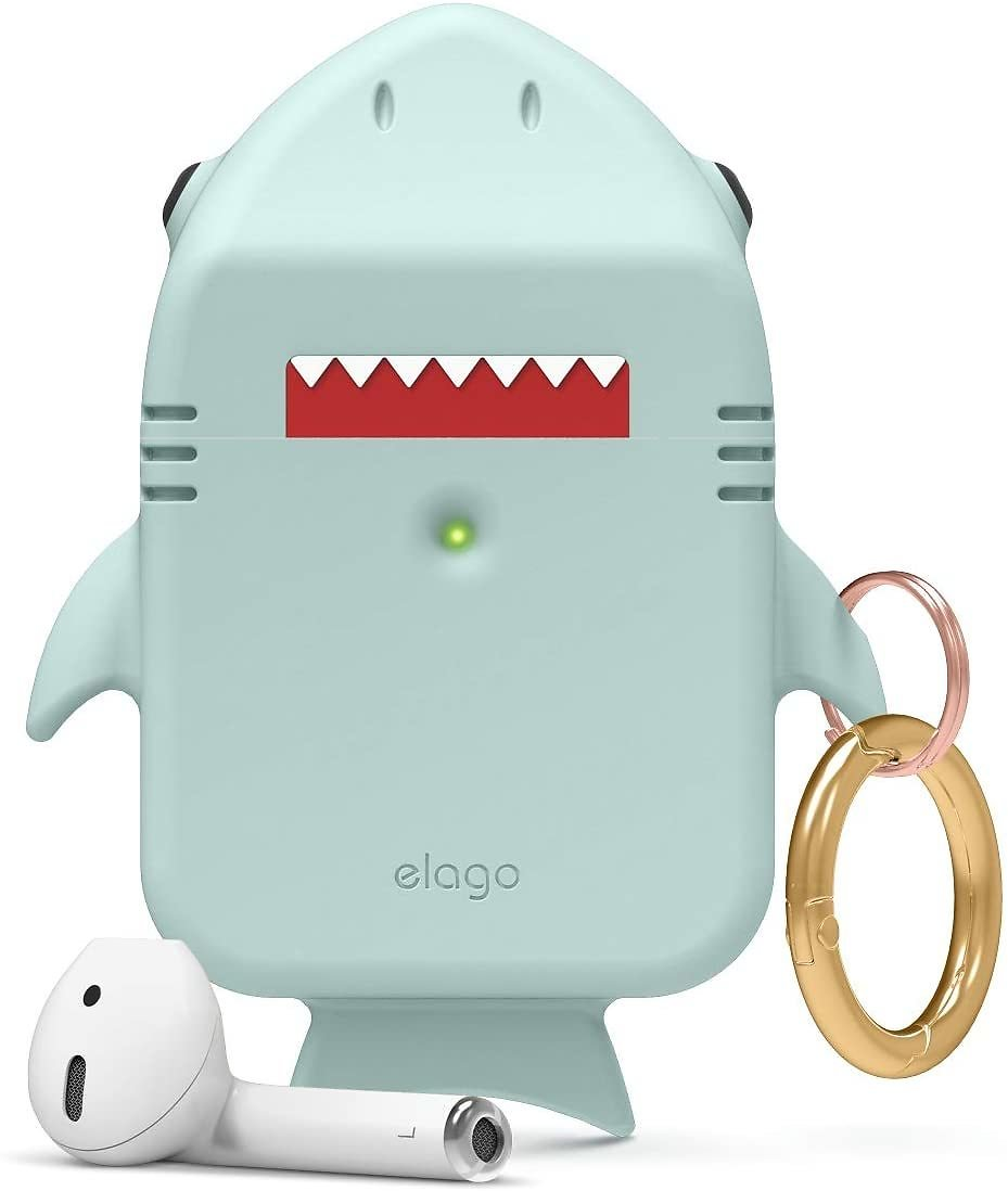Elago Shark AirPods Case - Cute 3D Design AirPods Case Cover with Keychain Compatible with Apple AirPods 2, 1 (Baby Mint)
