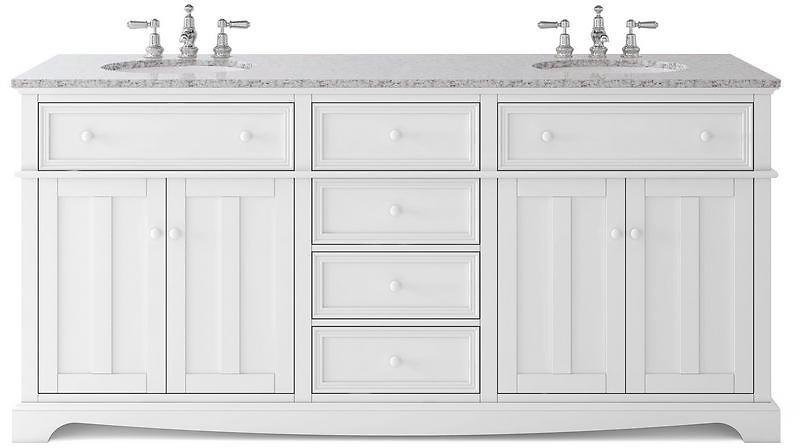 Home Decorators Collection Fremont 72 In. W X 22 In. D Double Vanity in White with Granite Vanity Top in Grey with White Sink MD-V1792