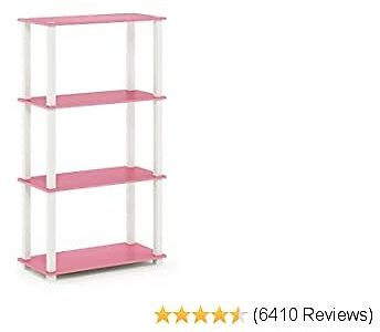 Furinno Turn-S-Tube 4-Tier Multipurpose Shelf Display Rack, Square, Pink/White