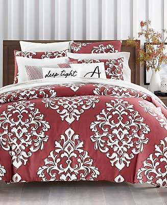 Charter Club CLOSEOUT! Outline Damask Bedding Collection, Created for Macy's & Reviews - Bedding Collections - Bed & Bath