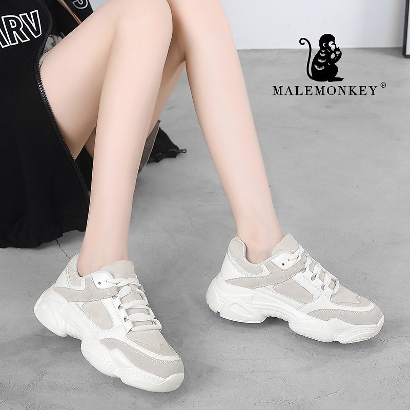 MALEMONKEY 932555 Casual Sneakers 2020 Spring Sport Thick Sole Lady Leisure Shoes Lace Up Comfortable Women Chunky Sneakers