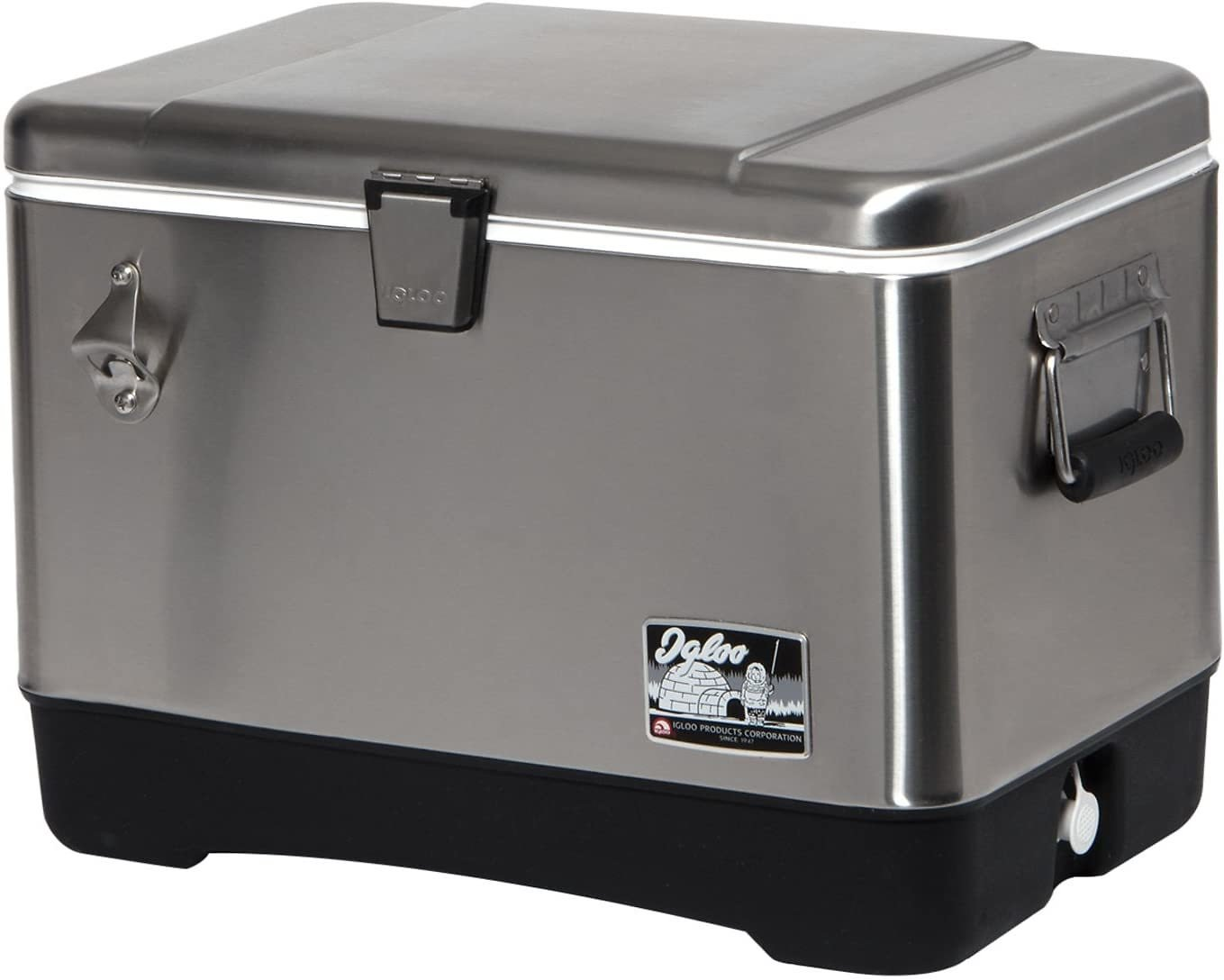 Igloo Stainless Steel Cooler, 54 Quart, Clear