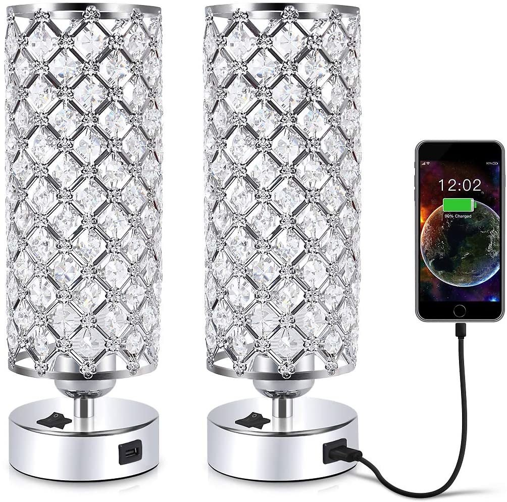 Set of 2 - Crystal Table Desk Lamp with USB Port