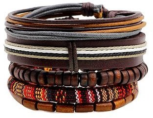 Retro Multilayer Wood Bead Bracelet Pendant Braided Leather Adjustable for MenMen JewelryfromJewelry,Watches & Accessorieson Banggood.com
