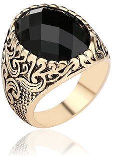 Retro Classic Black Gem Jewelry Exquisite Carved Totem Geometry Men Ring Men JewelryfromJewelry,Watches & Accessorieson Banggood.com
