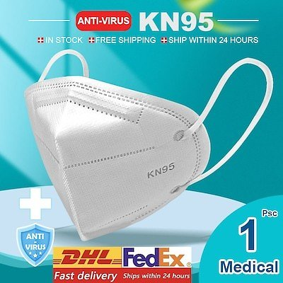 KN95 N95 Respirator Face Mask Surgical Adjustable Dust Full Face Mask Medical Health Care Facepiece - 1pcs