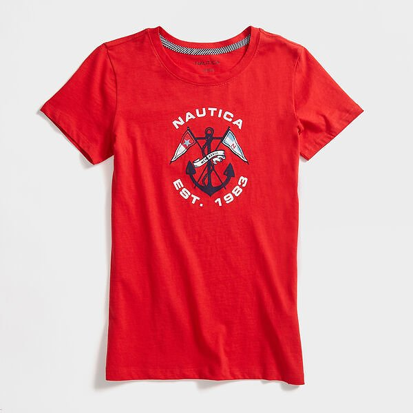 CROSSED ANCHOR AND FLAG T-SHIRT