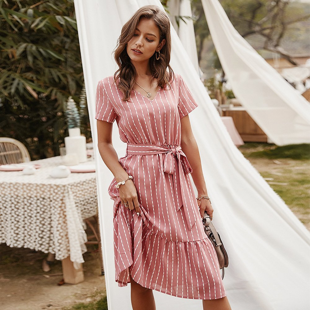 Summer Dresses Women 2020 Elegant Sexy V-neck Casual A-Line Midi Dress Vintage Pink Yellow Striped Lace-up Beach Sundress