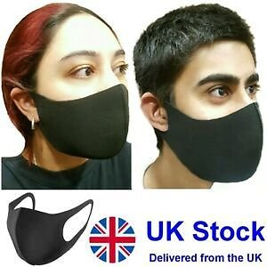 *Face Mask* Mouth & Nose Protection NEOPRENE *Reusable* Washable Black Masks