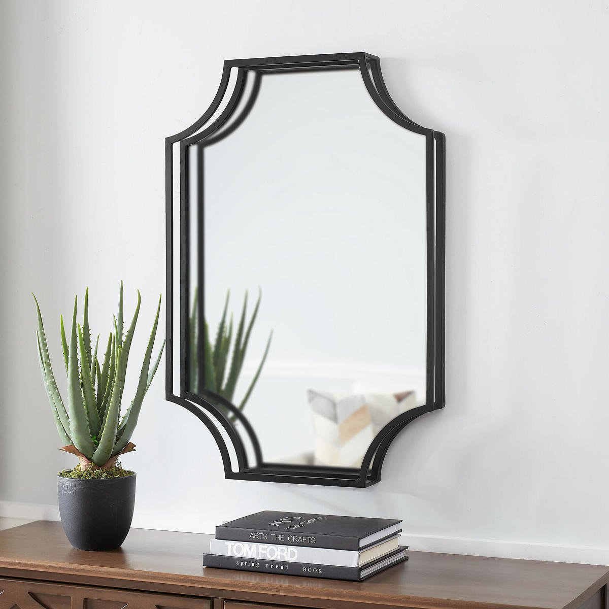StyleWell 30 In. H X 20 In. W StyleWell Rectangle Dimensional Framed Black Accent Mirror