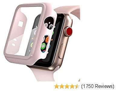 Pzoz Compatible Apple Watch Series 2 / Series 3 Case with Screen Protector 42mm Accessories Slim Guard Thin Bumper Full Coverage Matte Hard Cover Defense Edge for Women Men New Gen GPS IWatch (Pink)